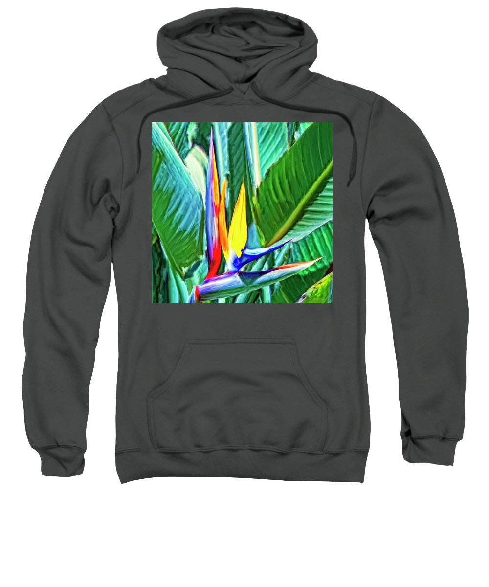 Bird Of Paradise Sweatshirt featuring the painting Bird Of Paradise by Dominic Piperata