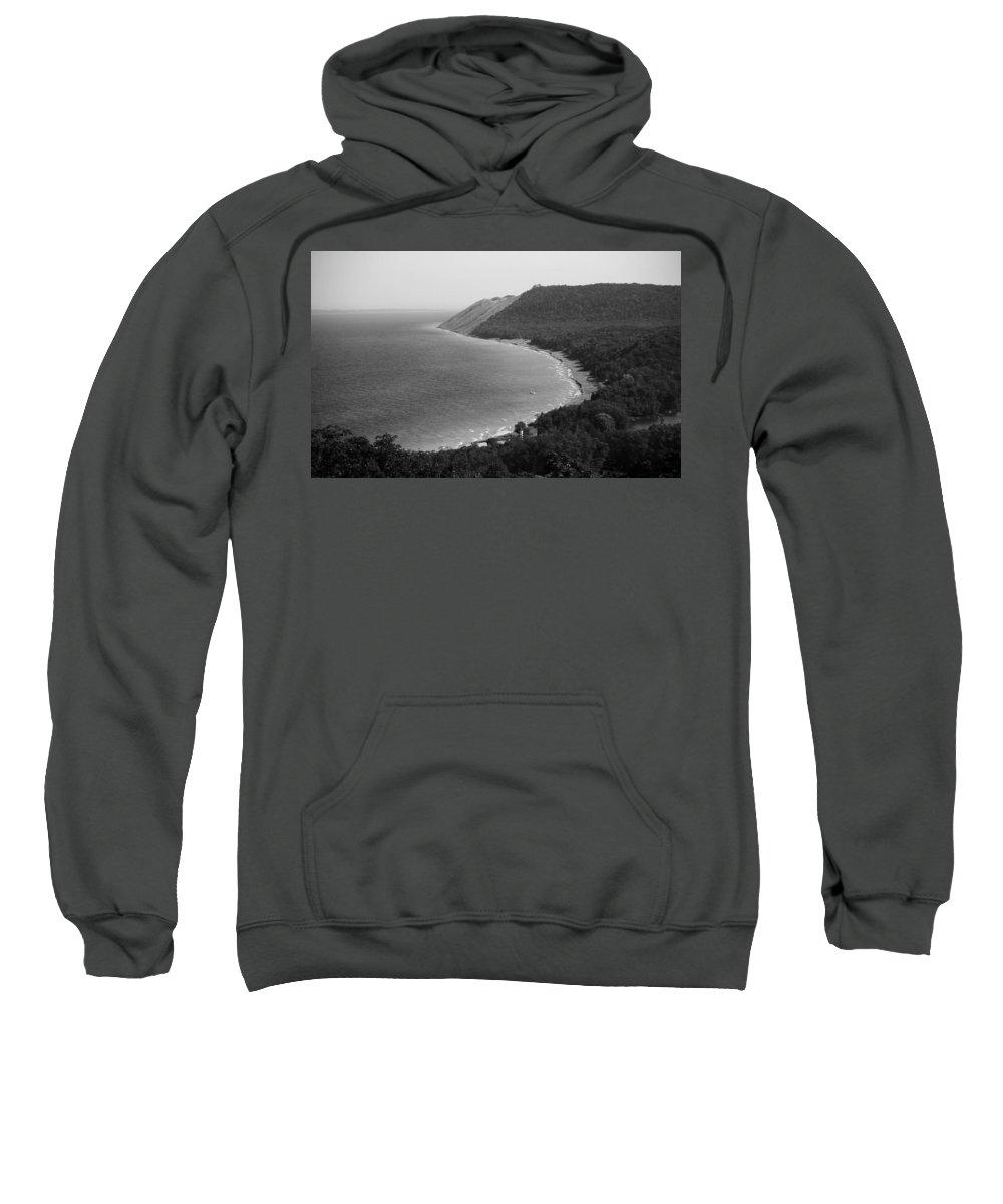 Sleeping Bear Dunes Lakeshore Sweatshirt featuring the photograph Black And White Sleeping Bear Dunes by Dan Sproul