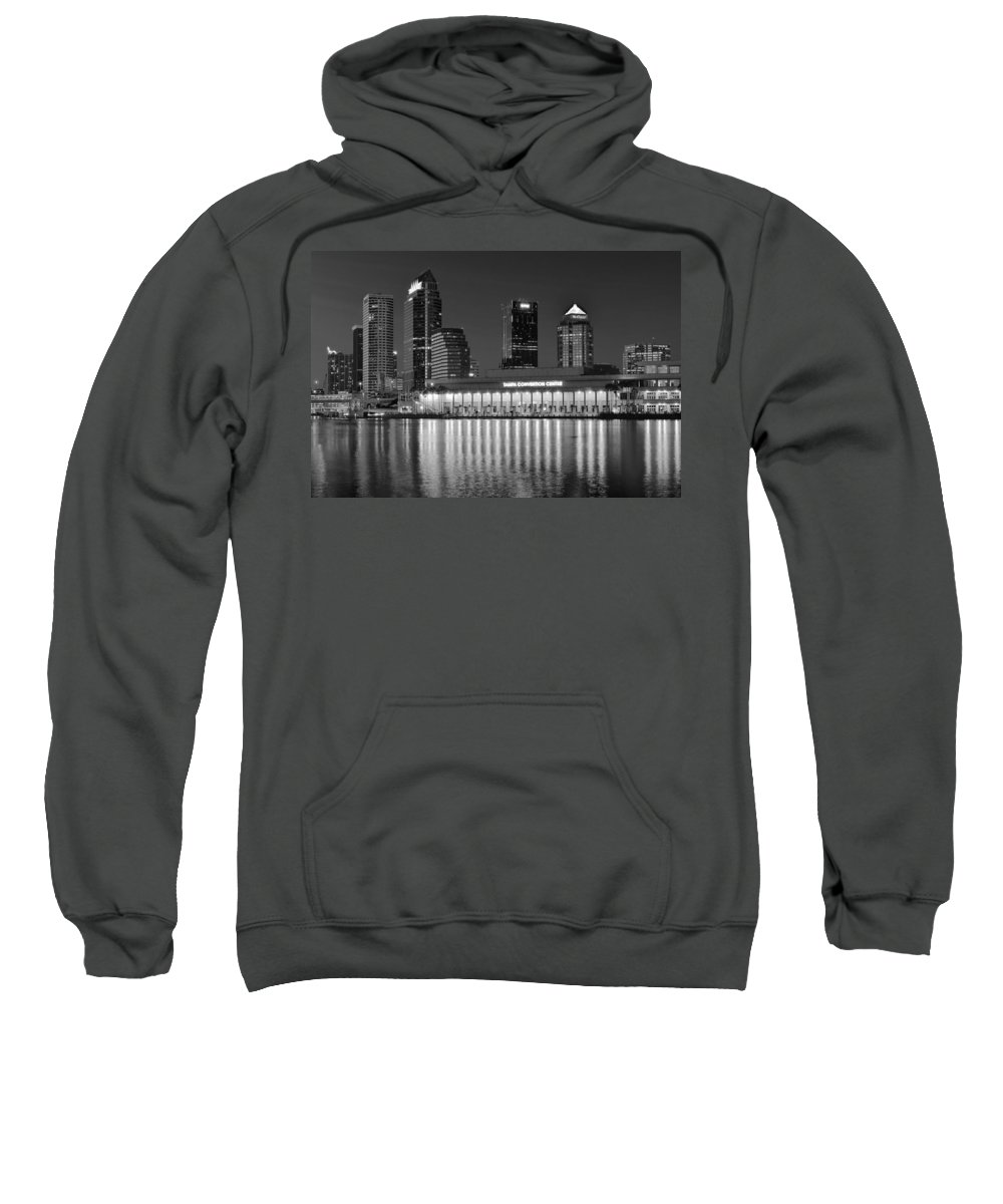 Tampa Sweatshirt featuring the photograph Black And White Tampa Night by Frozen in Time Fine Art Photography