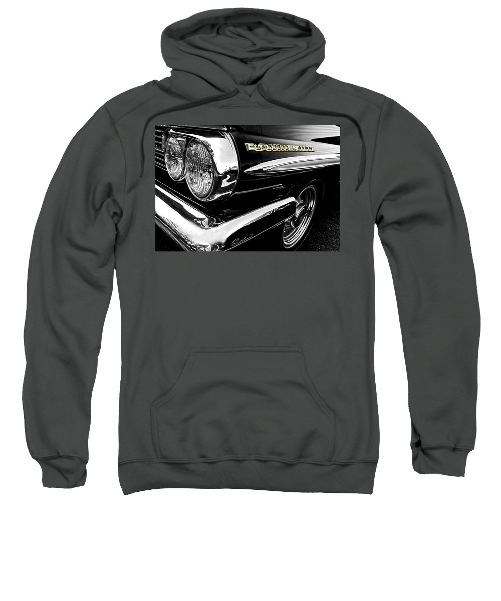 Classic Cars Sweatshirt featuring the photograph Black Bonneville by Kristie Bonnewell