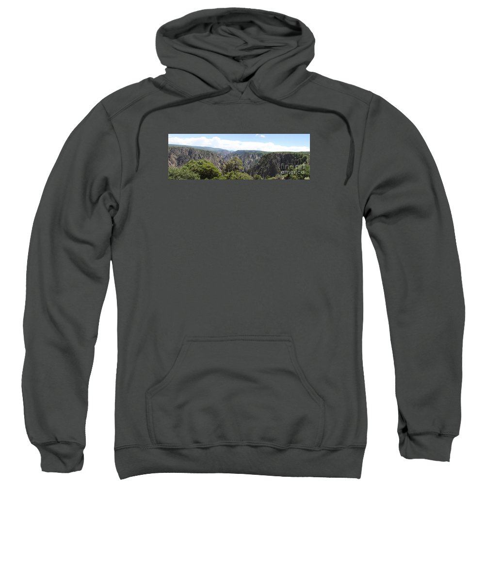 Black Canyon Of The Gunnison Sweatshirt featuring the photograph Black Canyon Of The Gunnison Panorama by Christiane Schulze Art And Photography