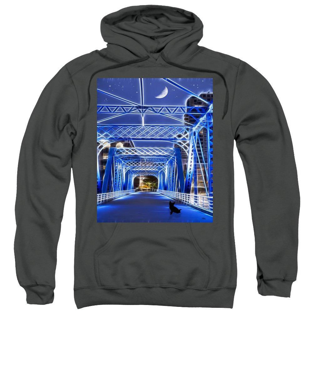 Evie Carrier Sweatshirt featuring the photograph Black Cat Blue Bridge by Evie Carrier