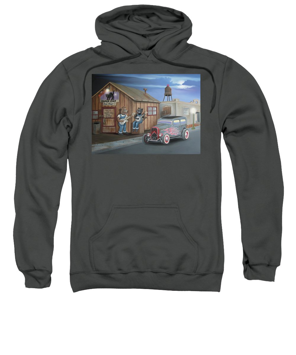 Cat Sweatshirt featuring the digital art Black Cat Juke Joint by Stuart Swartz