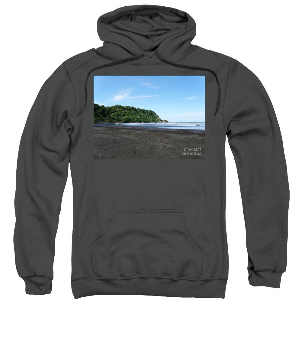 Costa Rica Sweatshirt featuring the photograph Black Sand Beach In Costa Rica by DejaVu Designs