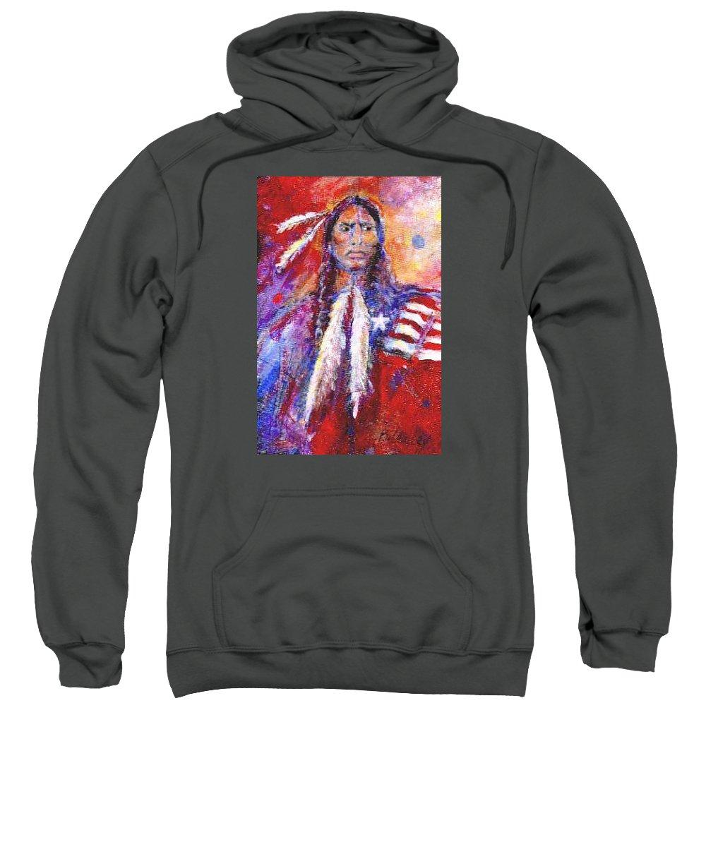 Native American Sweatshirt featuring the painting Blackfeet by Barbara Lemley