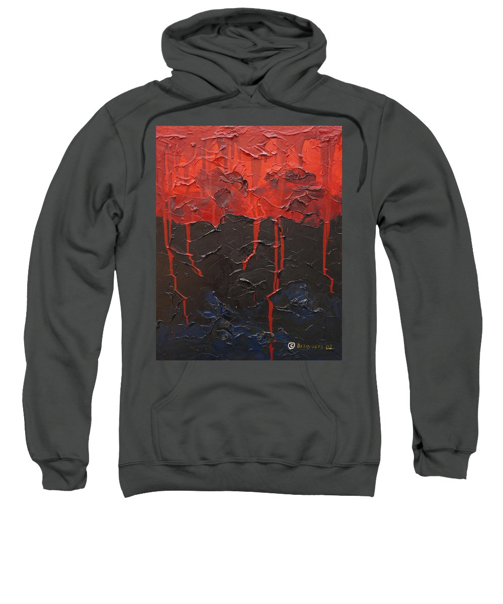 Fantasy Sweatshirt featuring the painting Bleeding Sky by Sergey Bezhinets
