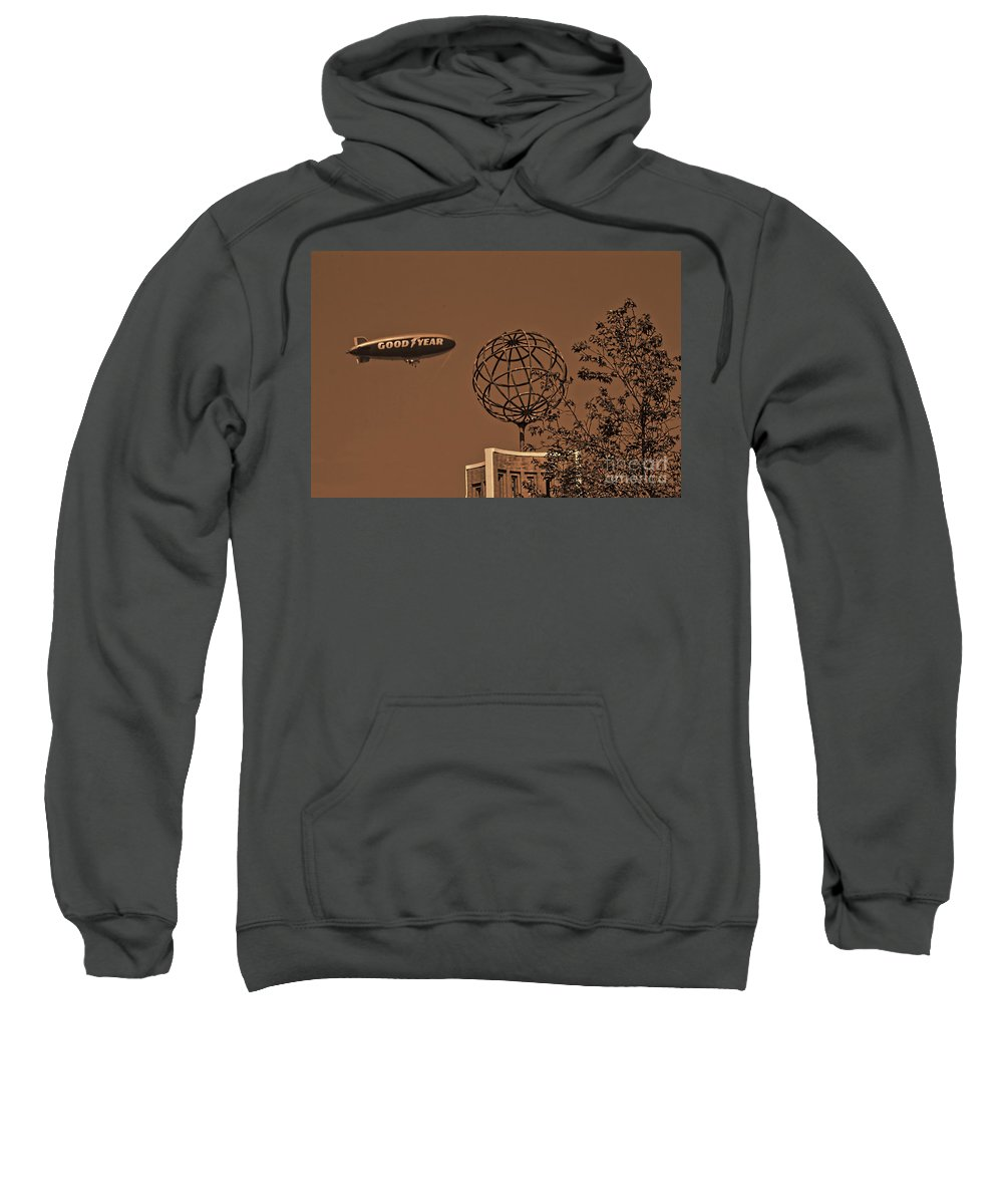 Sepia Sweatshirt featuring the photograph Blimp Over Usc by Tommy Anderson
