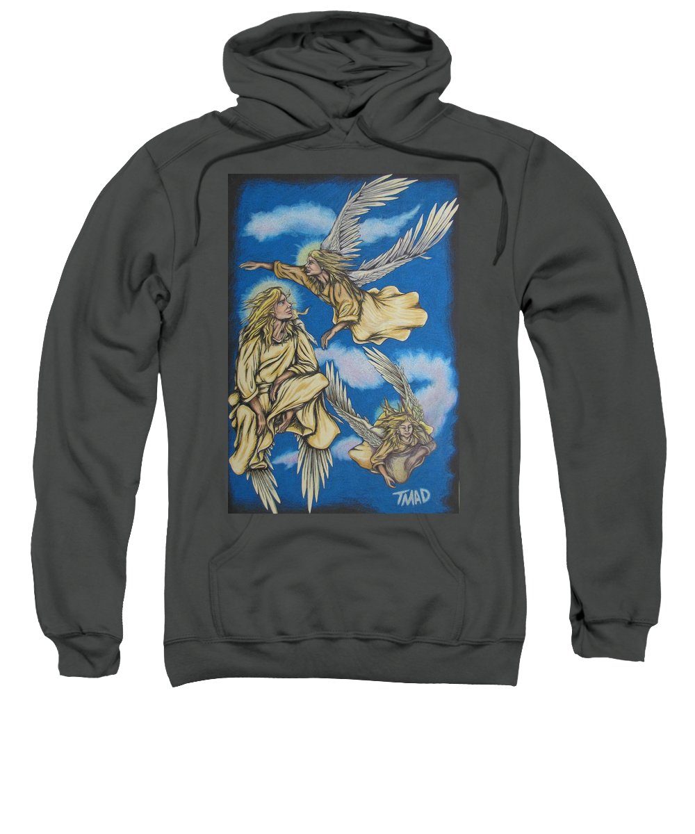 Michael Sweatshirt featuring the drawing Bliss by Michael TMAD Finney