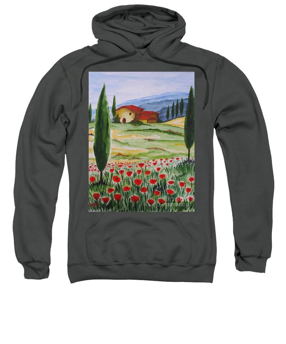 Tuscany Sweatshirt featuring the painting Blooming Poppy In Tuscany by Christine Huwer