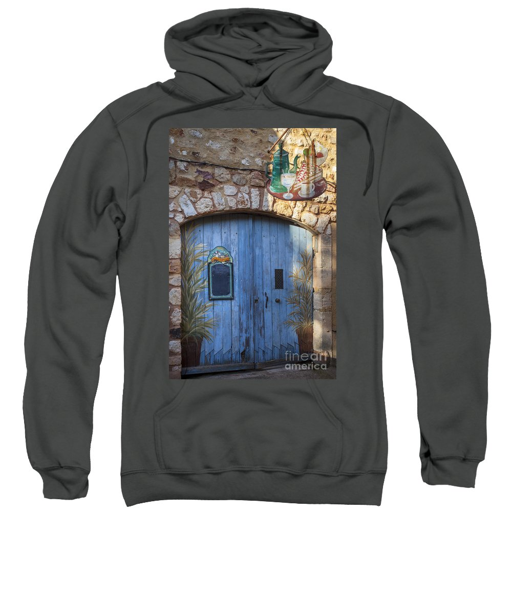 Blue Sweatshirt featuring the photograph Blue Cafe Doors by Brian Jannsen