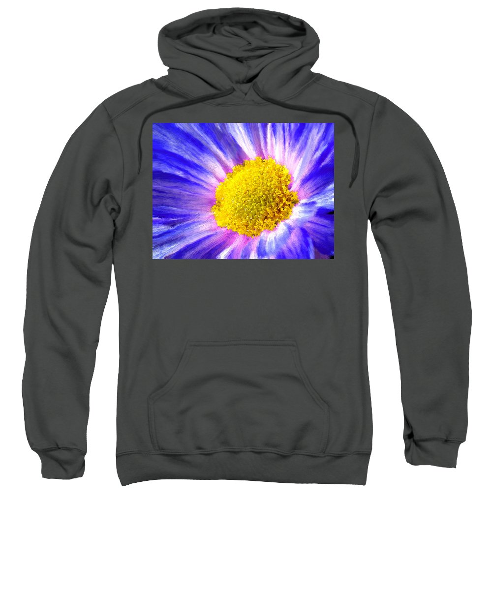 Blue Sweatshirt featuring the painting Blue Flower Macro by Bruce Nutting
