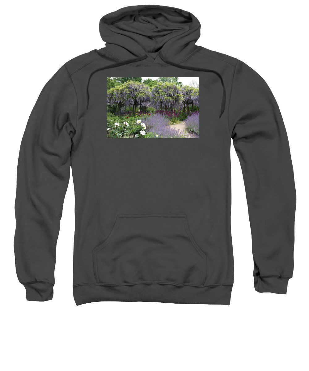 Flowers Sweatshirt featuring the photograph Blue Flowergarden With Wisteria by Christiane Schulze Art And Photography