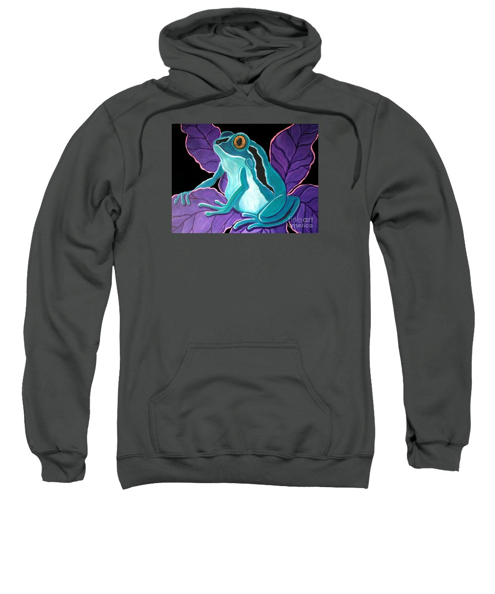 Frog Art Sweatshirt featuring the painting Blue Frog Purple Flower by Nick Gustafson