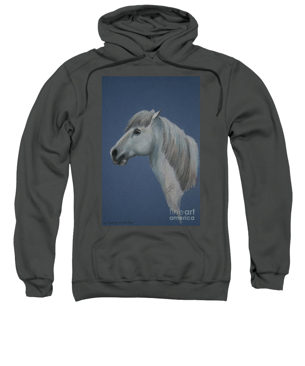 Pony Sweatshirt featuring the pastel Blue Ice Pony by Susan Herber