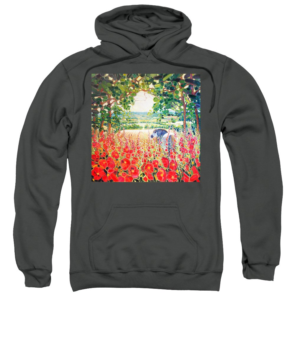 Horse In A Field Sweatshirt featuring the painting Blue Mare's English Summer Garden by Gill Bustamante