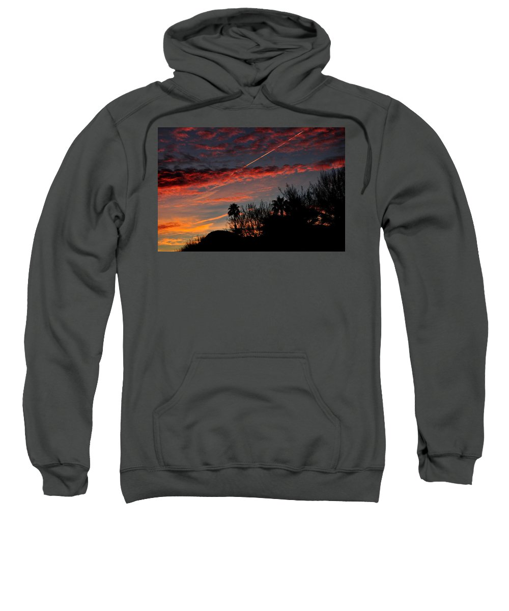 Bloody Sky Sweatshirt featuring the photograph Blue Red And Gold Sunset With Streak by Jay Milo
