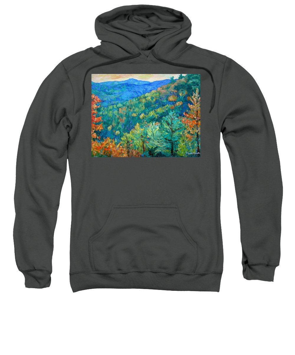 Blue Ridge Mountains Sweatshirt featuring the painting Blue Ridge Autumn by Kendall Kessler