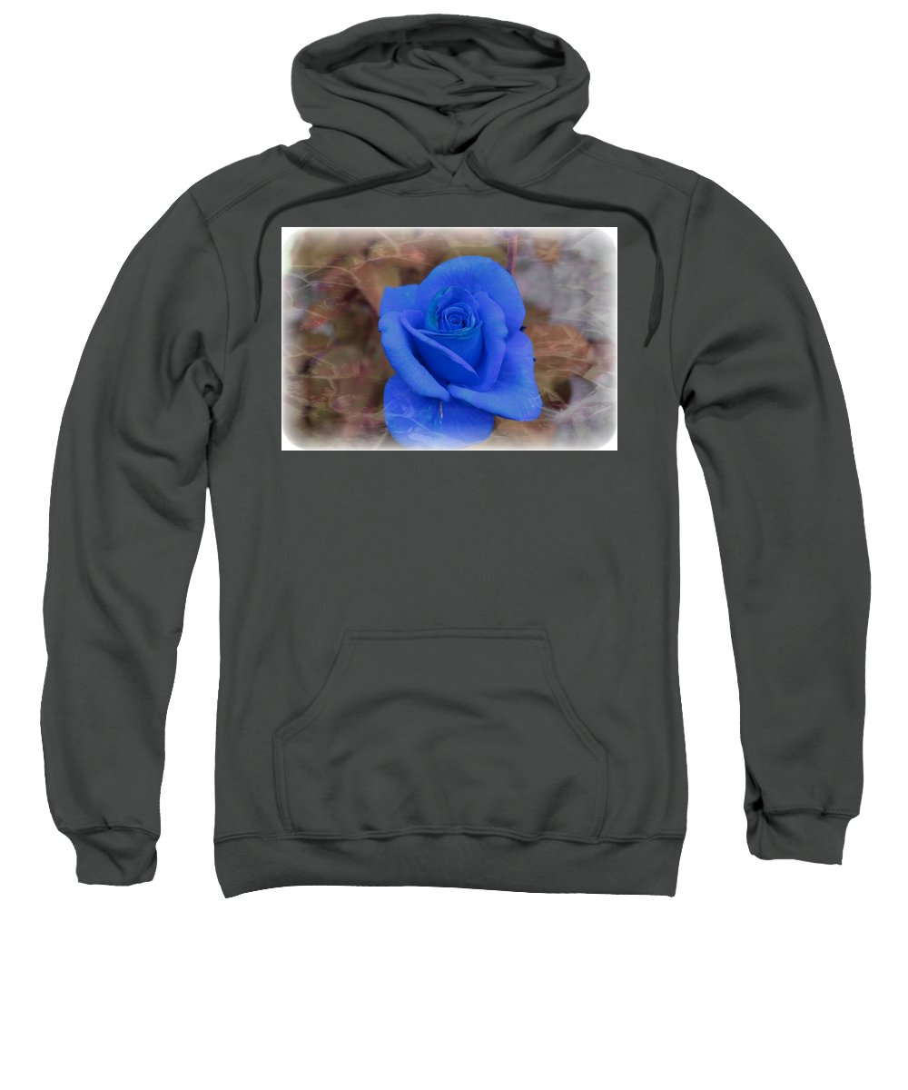 Floral Sweatshirt featuring the photograph Blue Rose by Tammy Garner