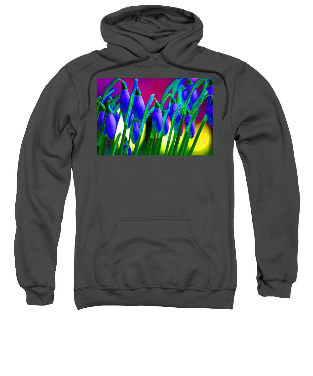 Blue Sweatshirt featuring the digital art Blue Snowdrops by Carol Lynch