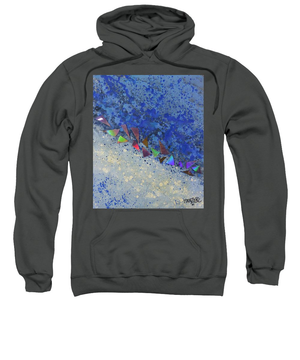 Hanzer Abstract Art Sweatshirt featuring the painting Blue Trail by Jack Hanzer Susco