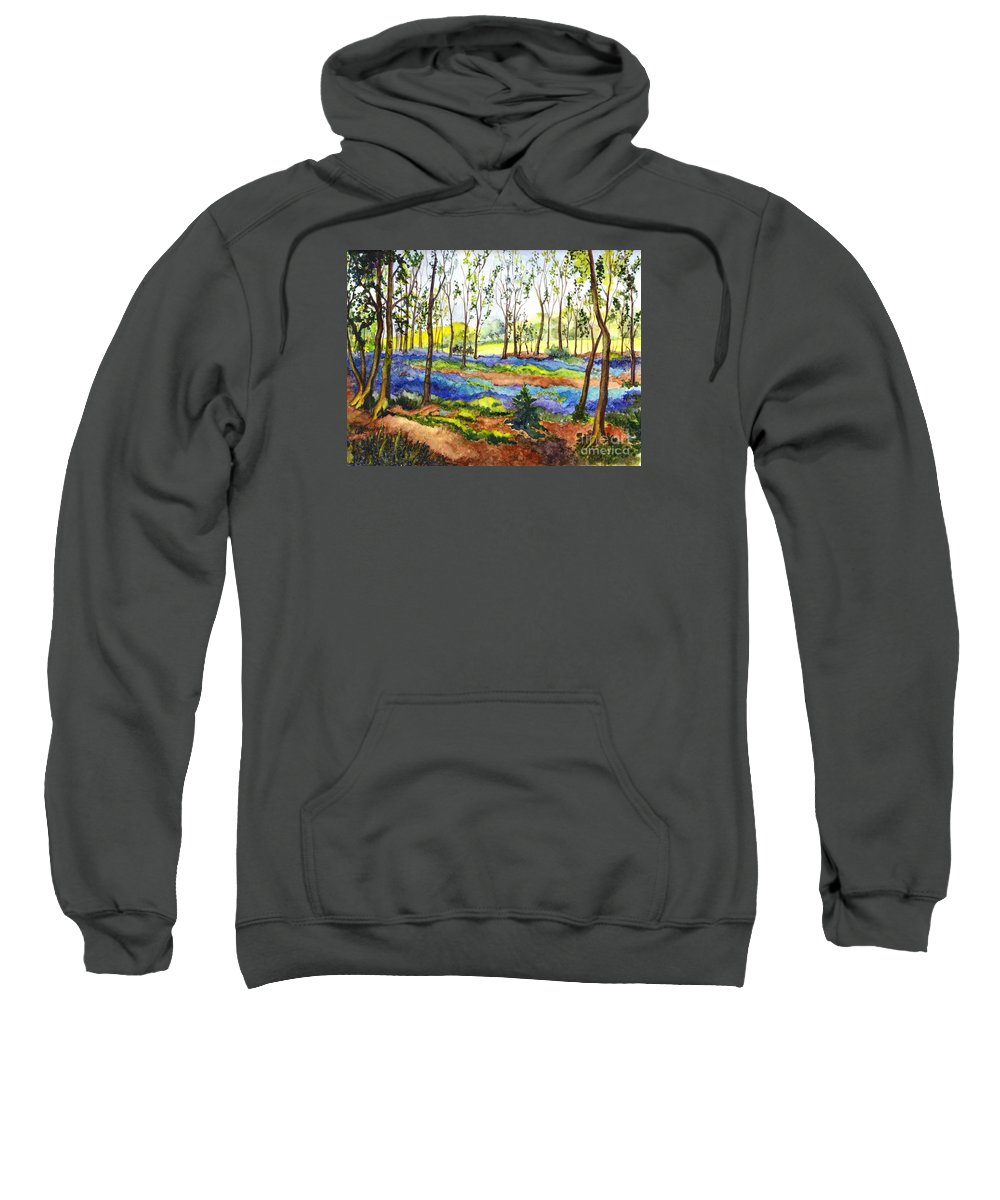 Flowers Sweatshirt featuring the painting Bluebell Woods by Carol Wisniewski