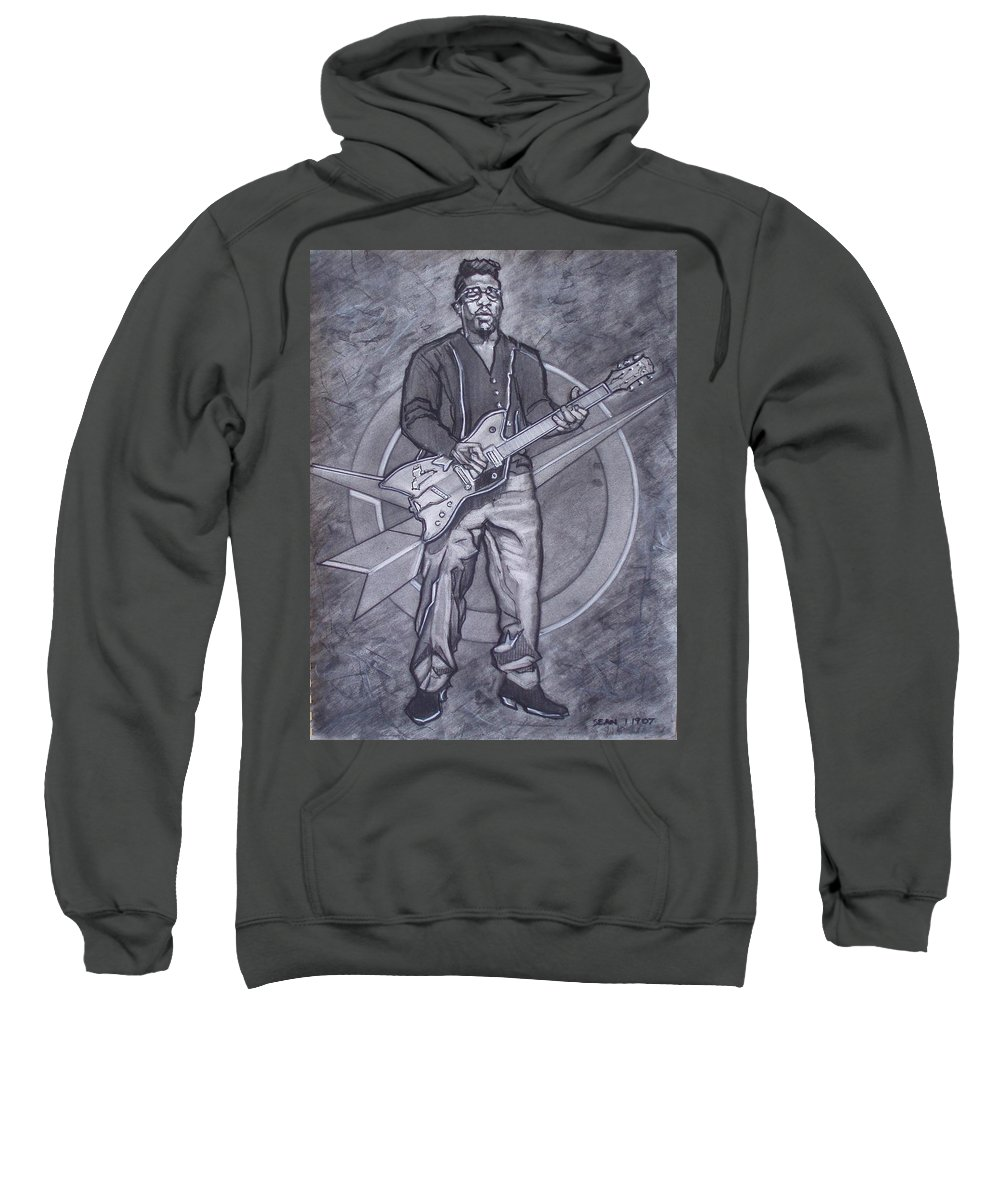 Texas;charcoal;king Of Rock;rock And Roll;music;1950s;blues;musician;funk;electric Guitar;marble;soul Sweatshirt featuring the drawing Bo Diddley - Have Guitar Will Travel by Sean Connolly