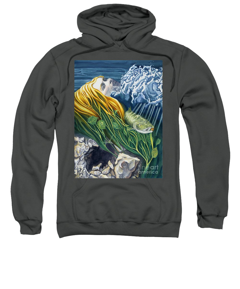 Boann Sweatshirt featuring the painting Boann Transformation Of A Goddess by Do'an Prajna - Antony Galbraith