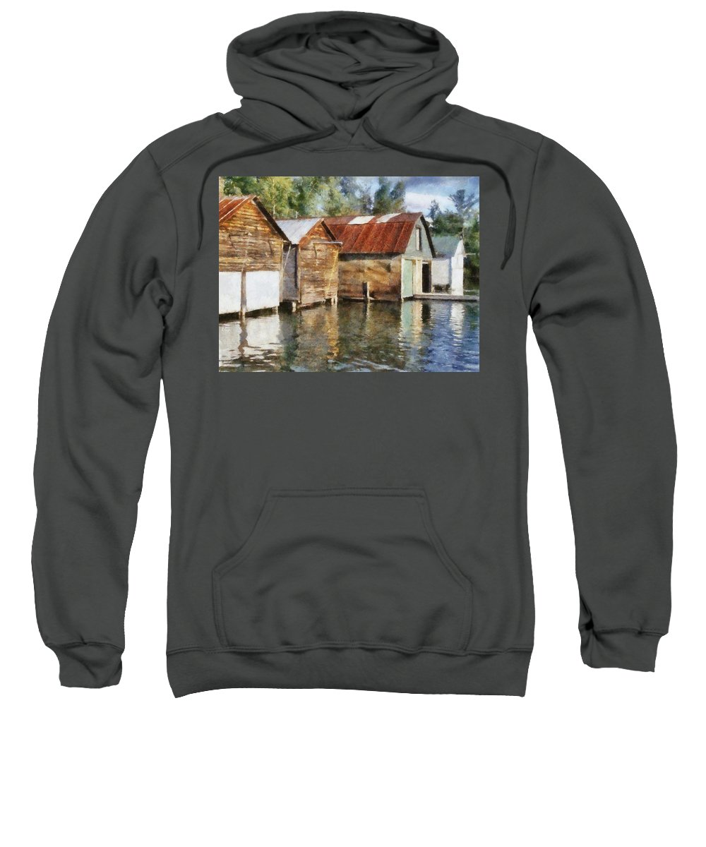 Boat Houses Sweatshirt featuring the photograph Boathouses On The Torch River Ll by Michelle Calkins