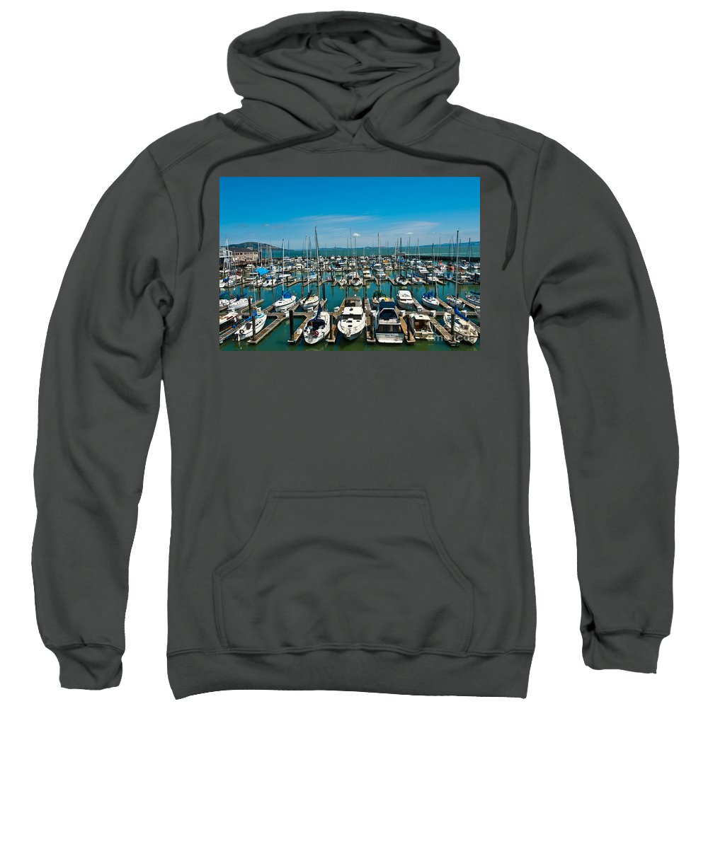 Boats Sweatshirt featuring the photograph Boats At Bay by Anthony Sacco