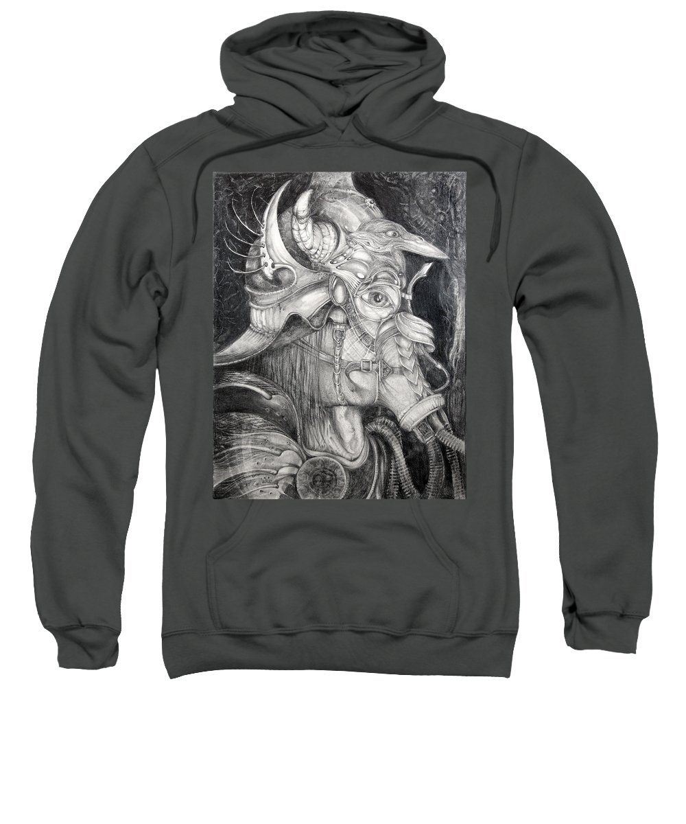 Bogomil Sweatshirt featuring the drawing Bogomils Duckhunting Mask by Otto Rapp