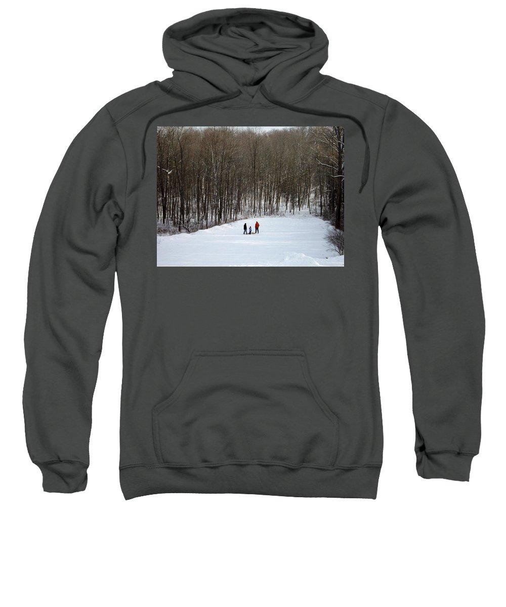 Sledding Sweatshirt featuring the photograph Bottom Of The Sled Hill by Linda Kerkau
