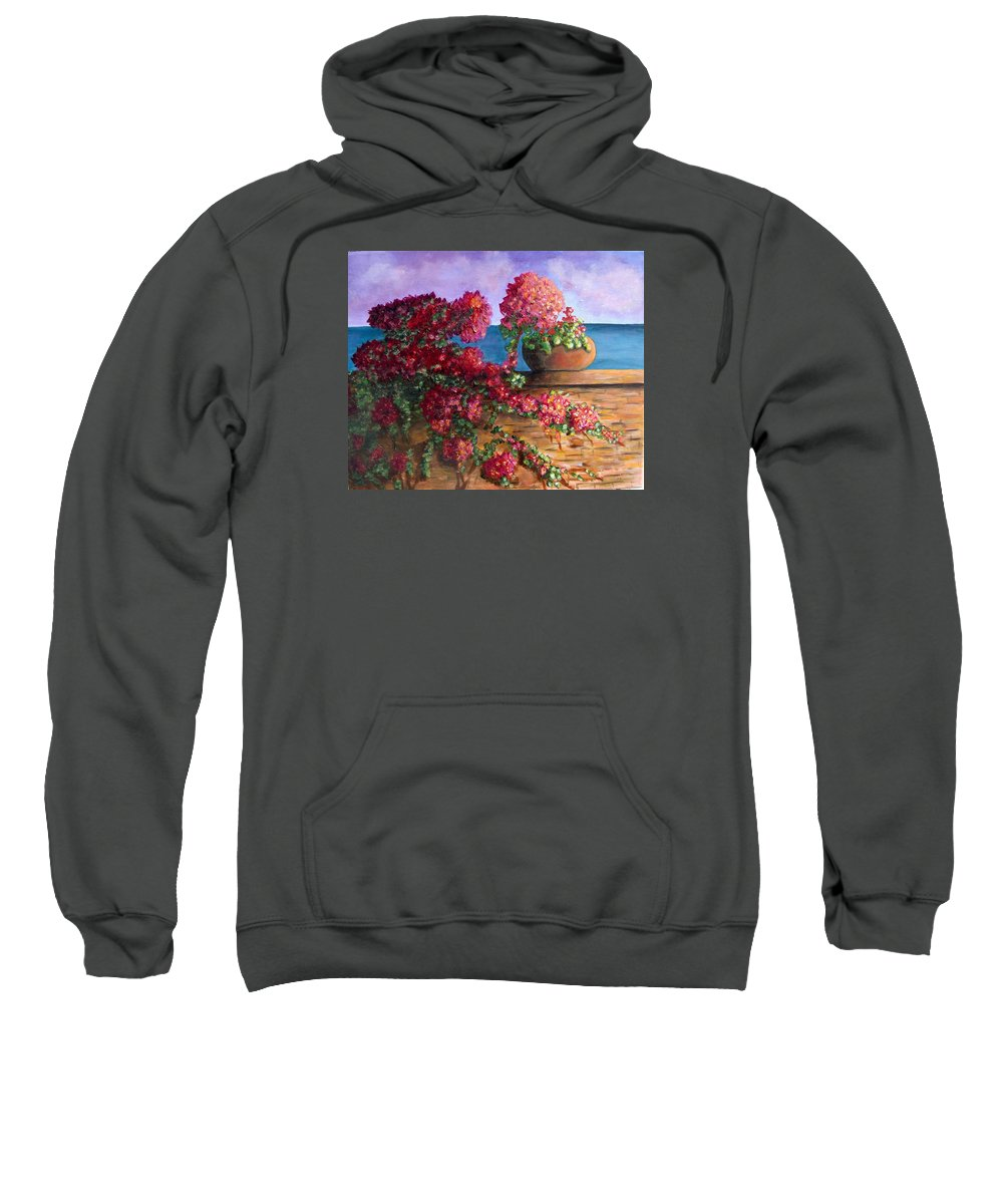 Bougainvillea Sweatshirt featuring the painting Bountiful Bougainvillea by Laurie Morgan