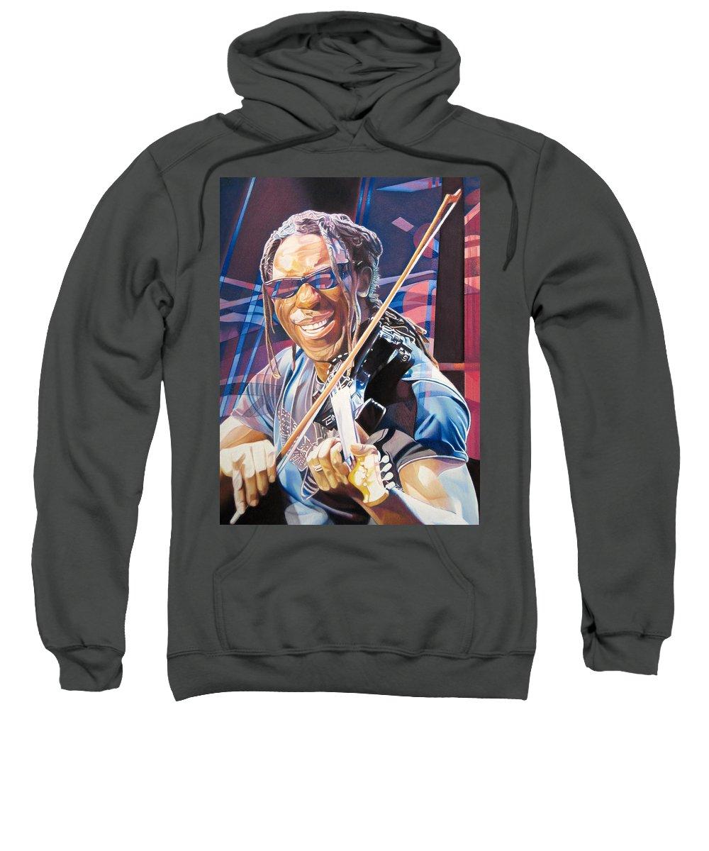 Boyd Tinsley Sweatshirt featuring the drawing Boyd Tinsley And 2007 Lights by Joshua Morton