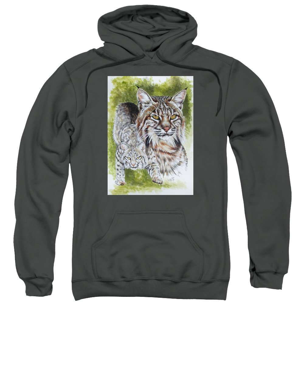 Small Cat Sweatshirt featuring the mixed media Brassy by Barbara Keith
