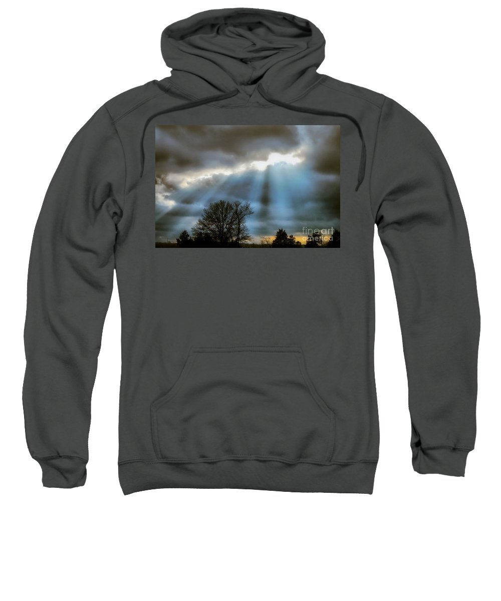 Sweatshirt featuring the photograph Break In The Storm by Peggy Franz