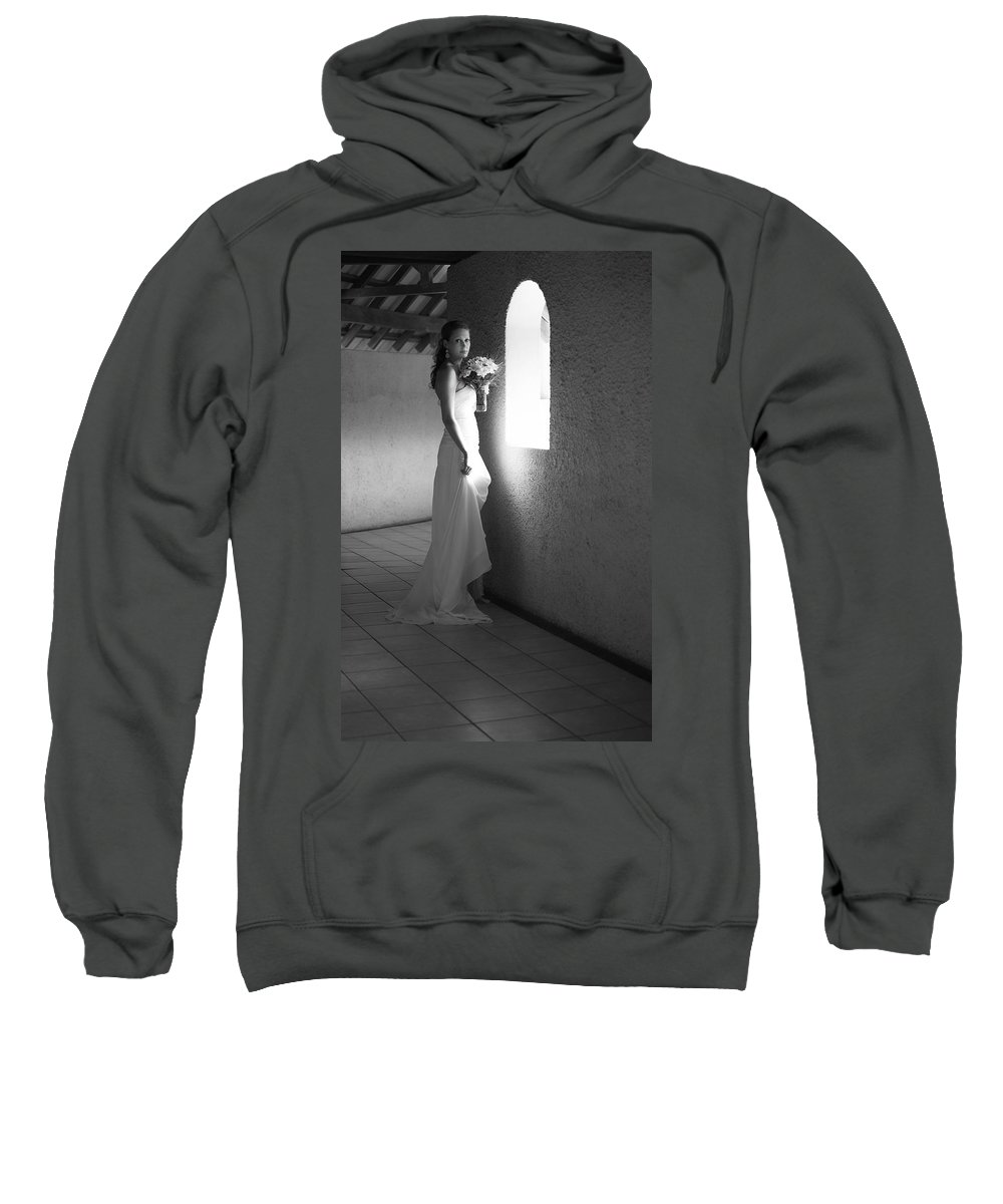 Marriage Sweatshirt featuring the photograph Bride At The Window I. Black And White by Jenny Rainbow