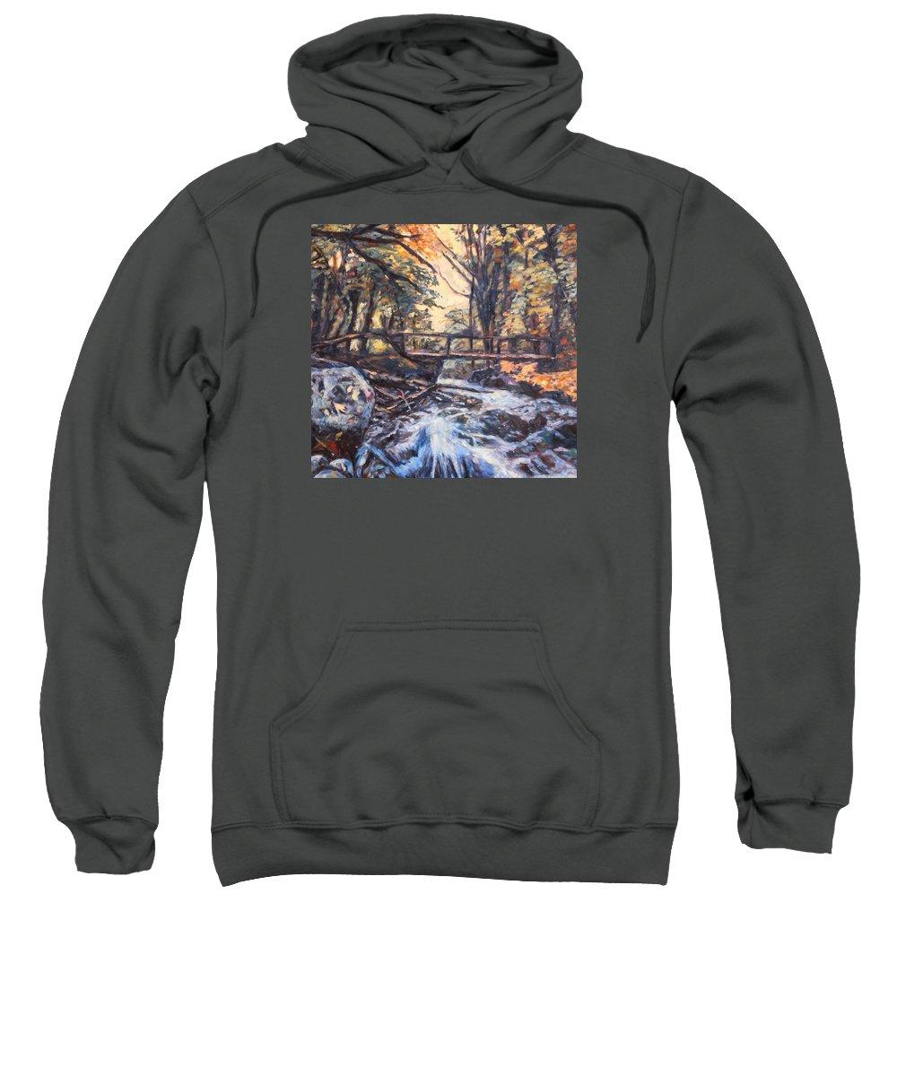 Creek Sweatshirt featuring the painting Morning Bridge In Woods by Kendall Kessler
