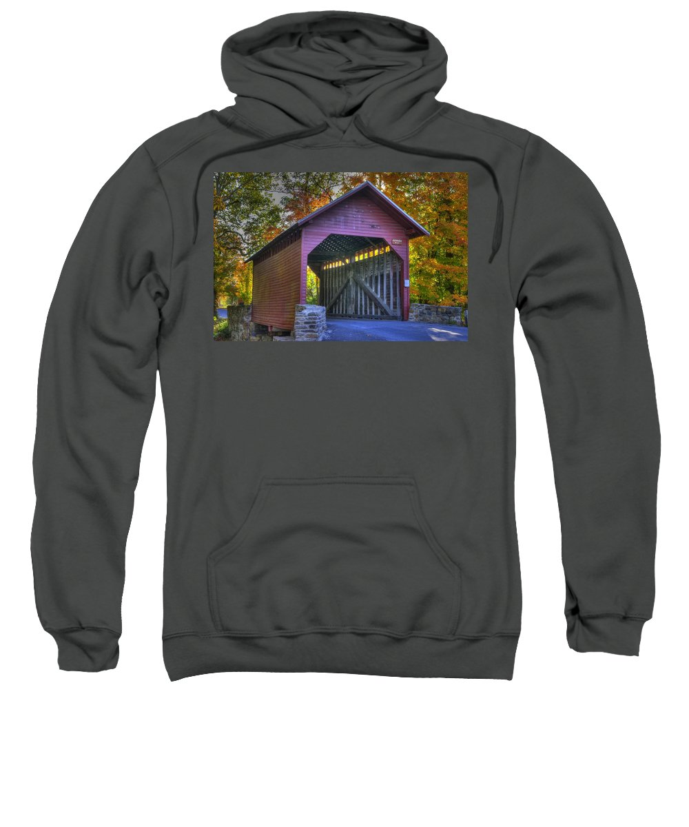 Roddy Road Covered Bridge Sweatshirt featuring the photograph Bridge To The Past Roddy Road Covered Bridge-a1 Autumn Frederick County Maryland by Michael Mazaika