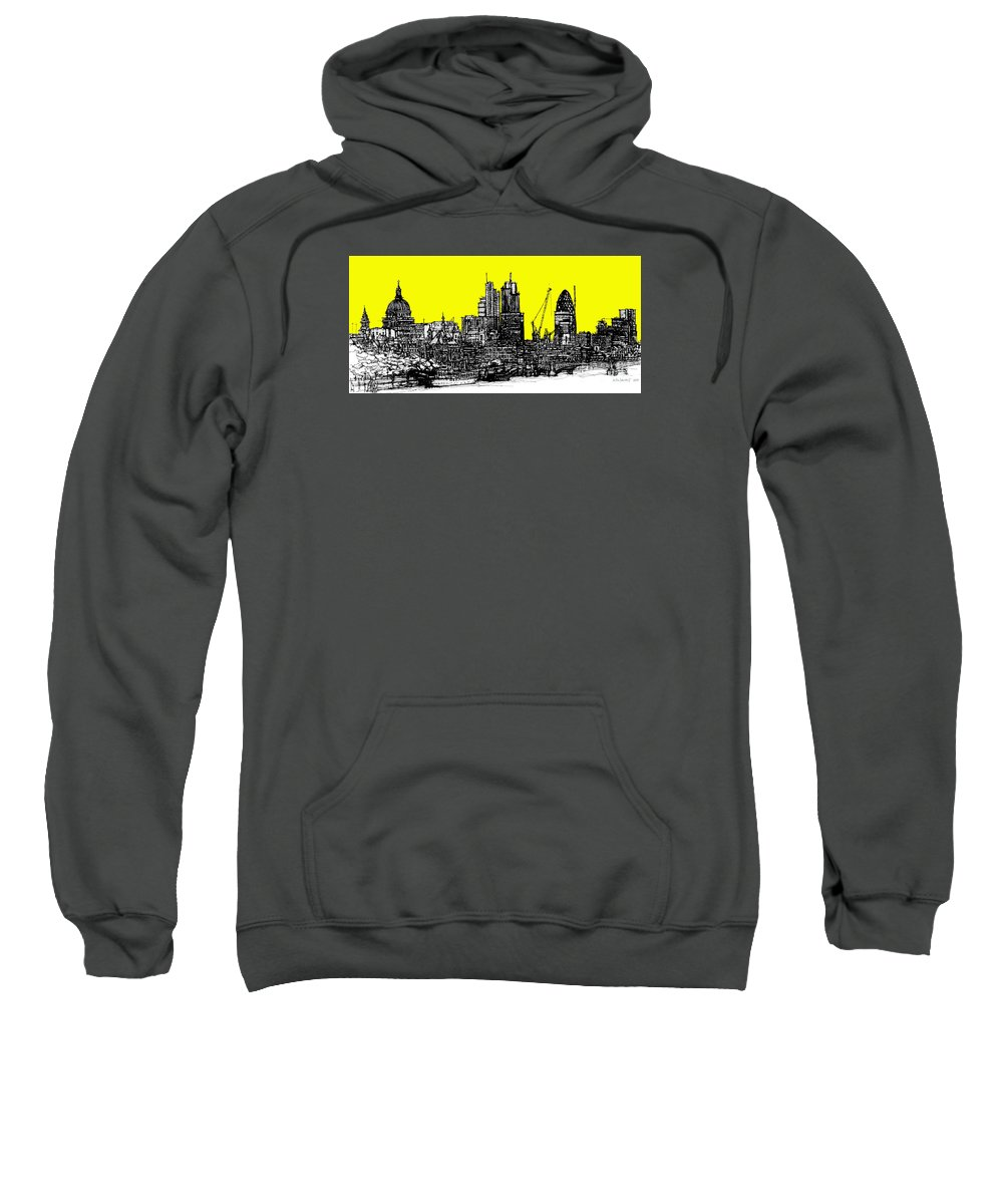 London Sweatshirt featuring the drawing Dark Ink With Bright Yellow London Skies by Adendorff Design
