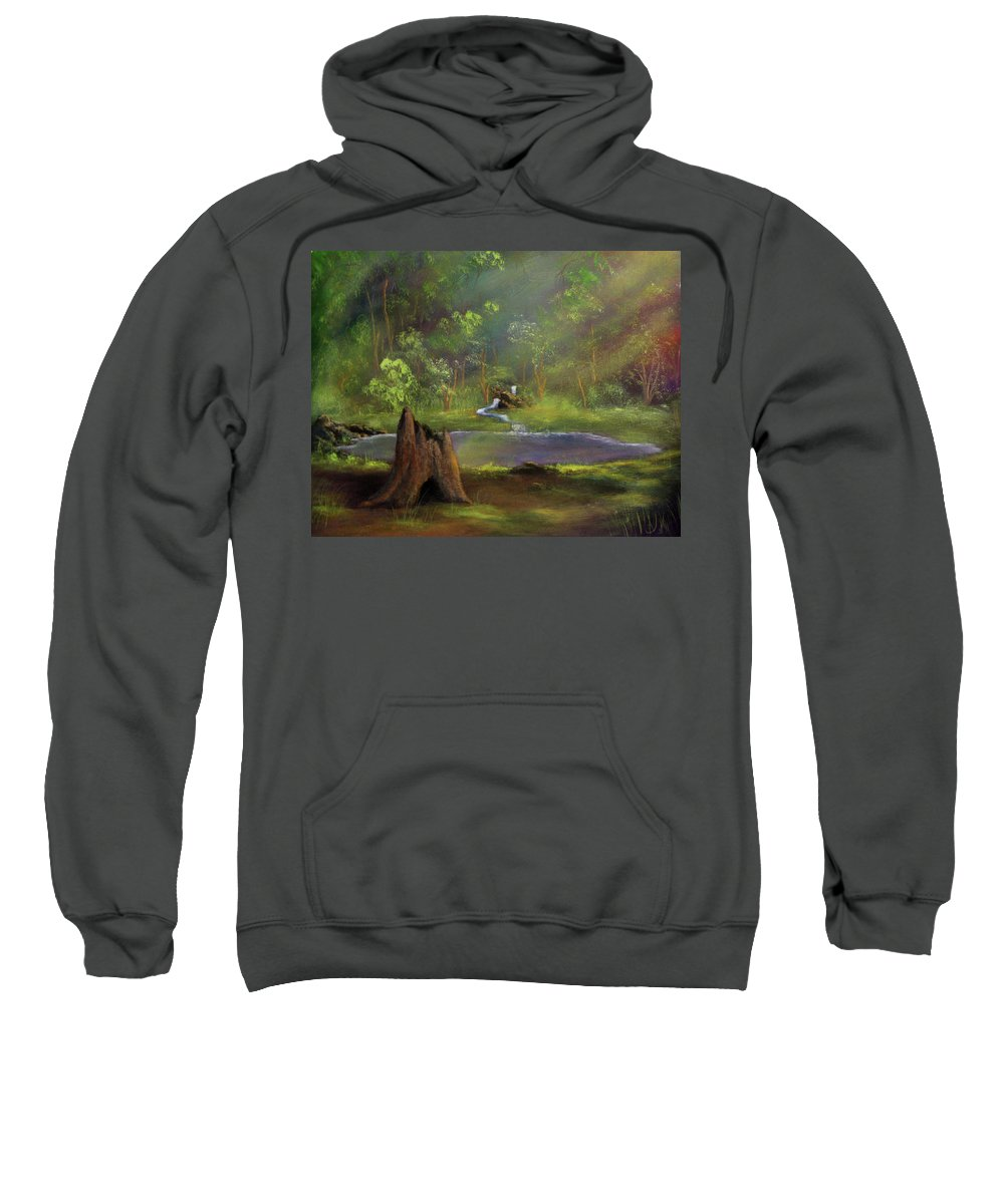 Stump Sweatshirt featuring the painting Brightening by Dawn Blair