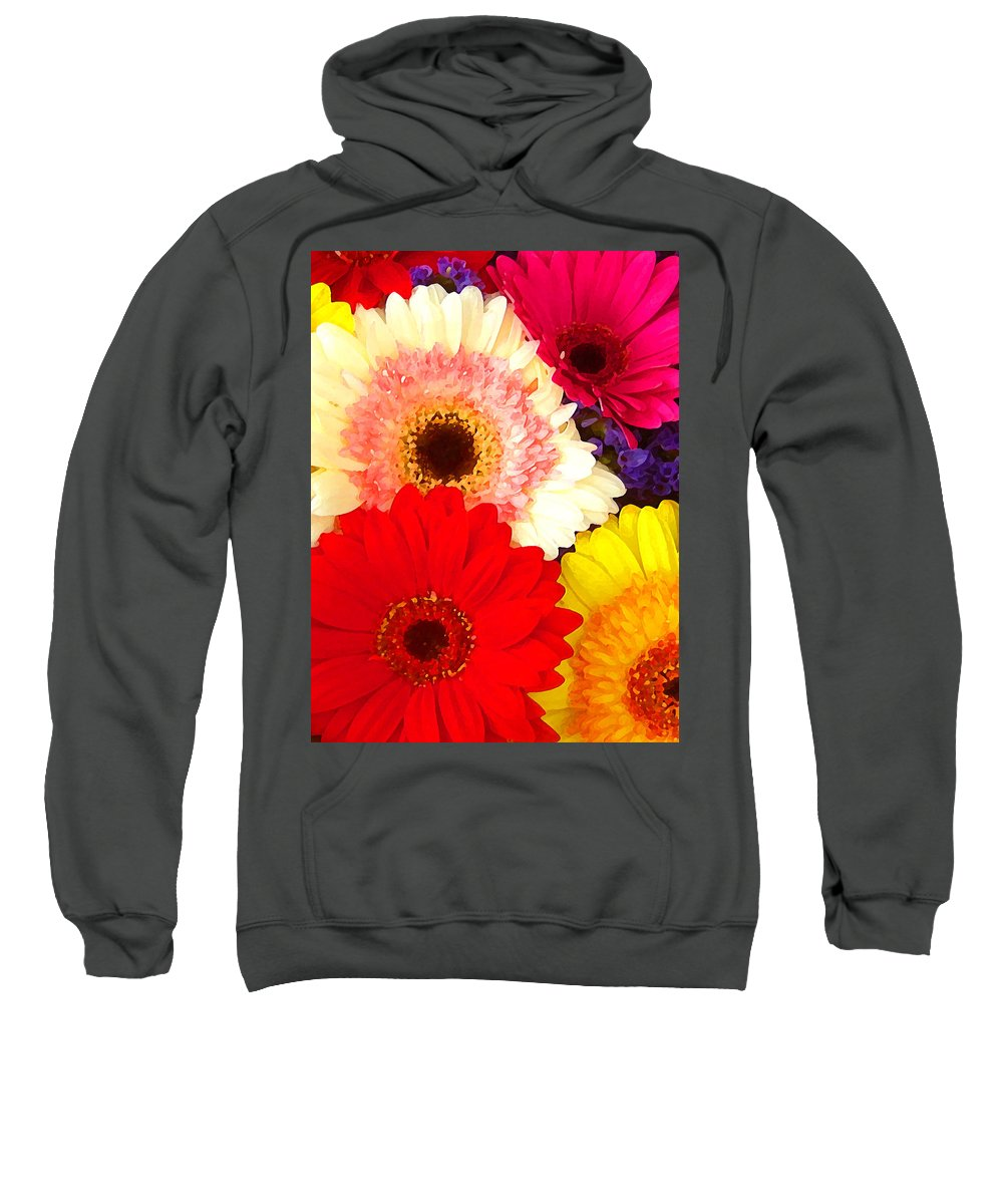 Daisies Sweatshirt featuring the painting Brightly Colored Gerbers by Amy Vangsgard