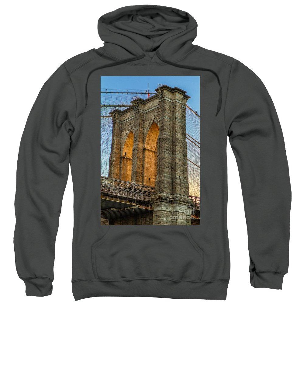 Bridge Sweatshirt featuring the photograph Brooklyn Bridge Tower by Jerry Fornarotto