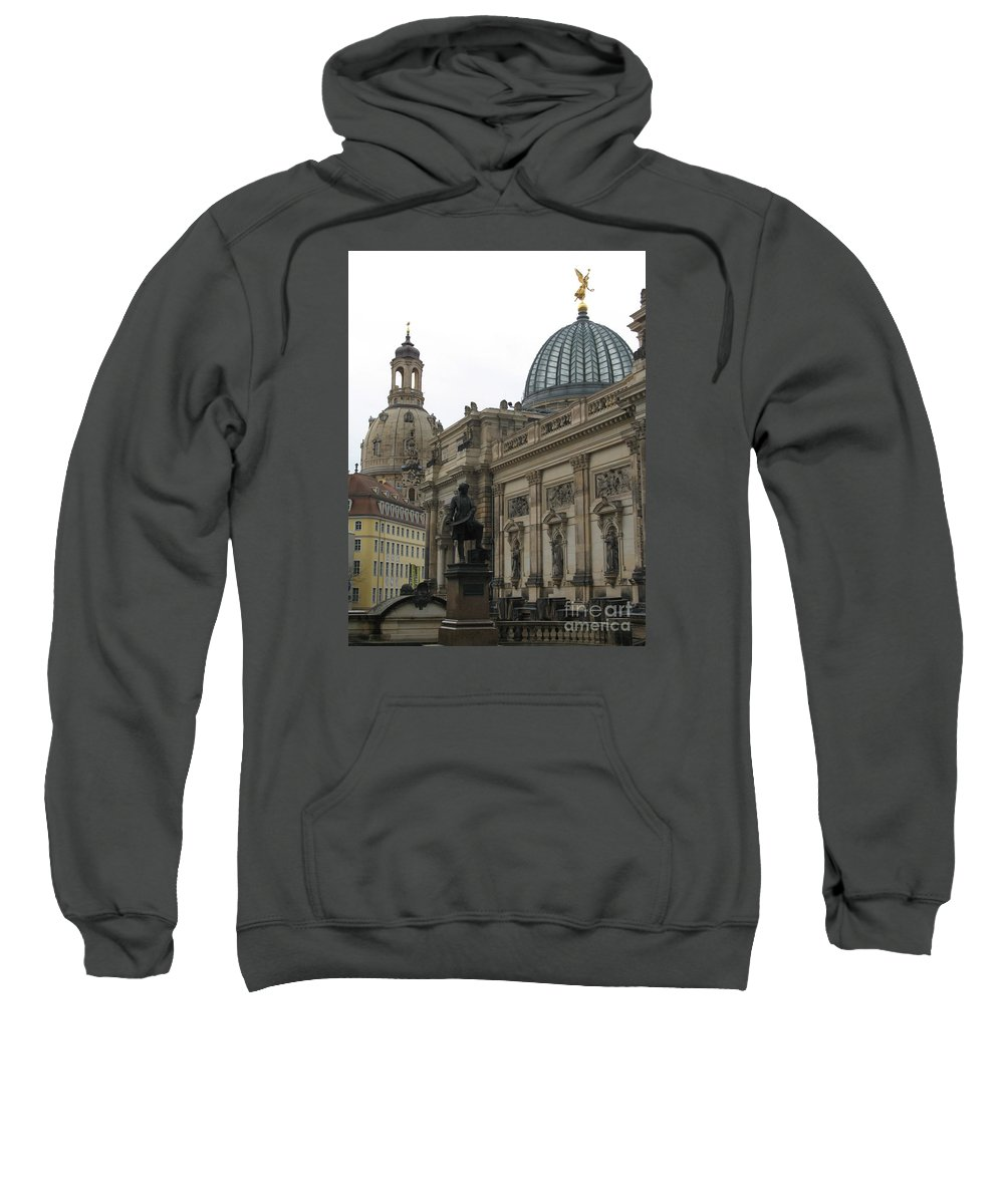 Terrace Sweatshirt featuring the photograph Bruehlsche Terrace - Church Of Our Lady - Dresden - Germany by Christiane Schulze Art And Photography