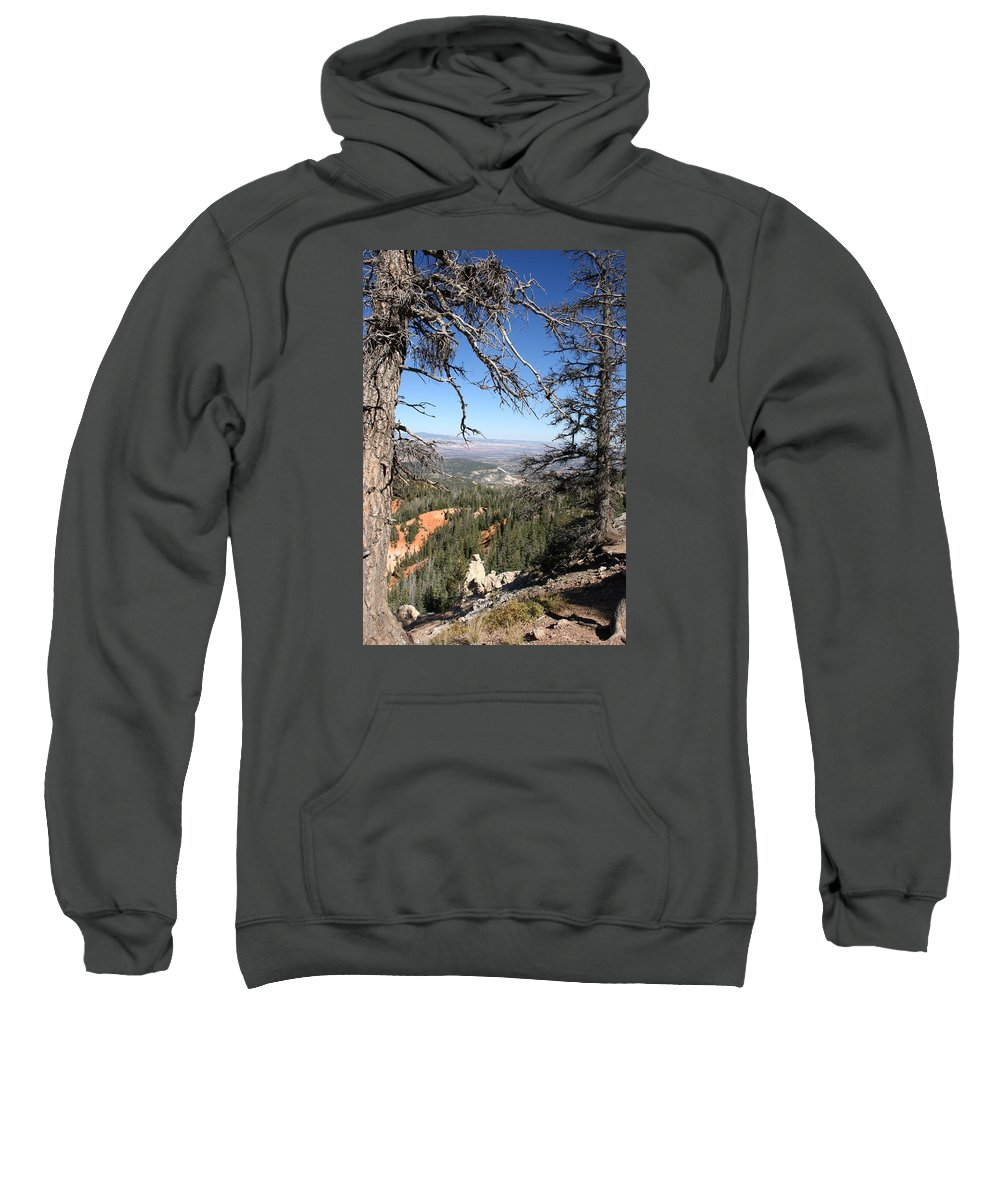 Trees Sweatshirt featuring the photograph Bryce Canyon Overlook With Dead Trees by Christiane Schulze Art And Photography