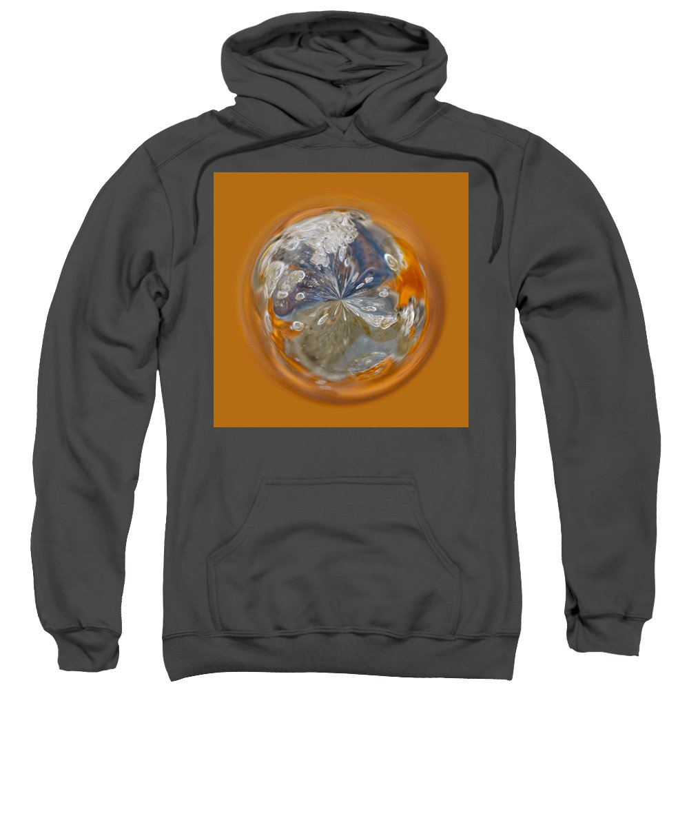 Orb Sweatshirt featuring the photograph Bubble Out Of Orange Orb by Brent Dolliver