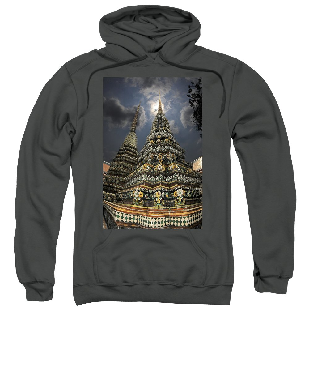 Buddhist Sweatshirt featuring the photograph Buddhist Temple In Bangkok Thailand Buddhism Wat Po by Dray Van Beeck