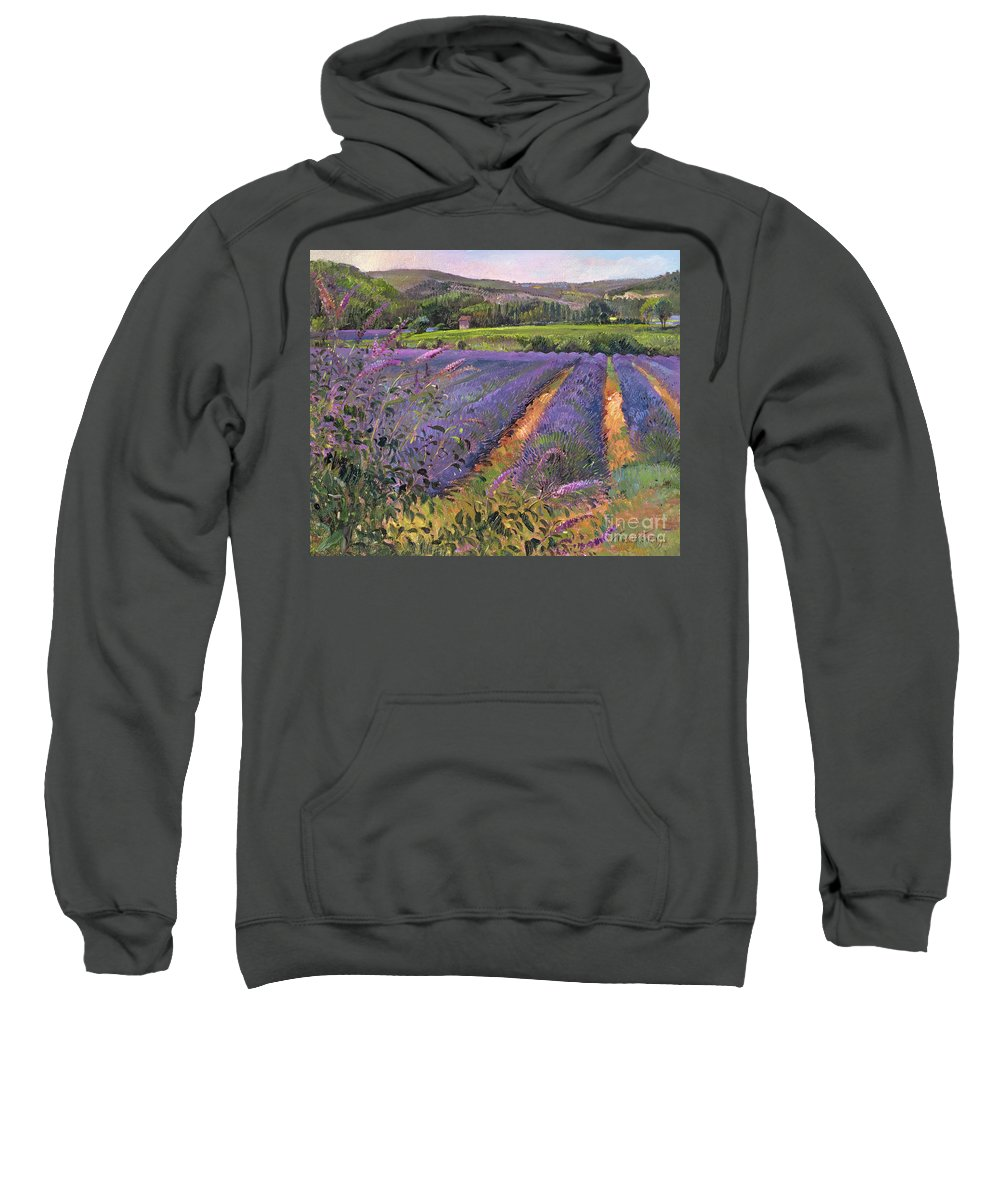Flower; Landscape Sweatshirt featuring the painting Buddleia And Lavender Field Montclus by Timothy Easton