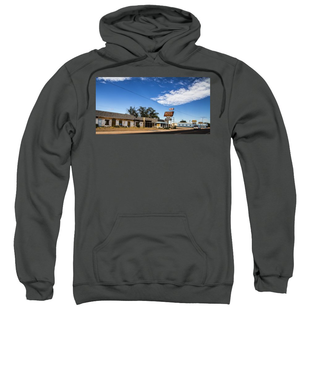 Route 66 Sweatshirt featuring the photograph Budget Motel by Angus Hooper Iii