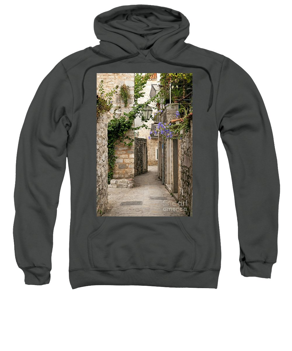 Adriatic Sweatshirt featuring the photograph Budva Old Town Cobbled Street In Montenegro by Jacek Malipan