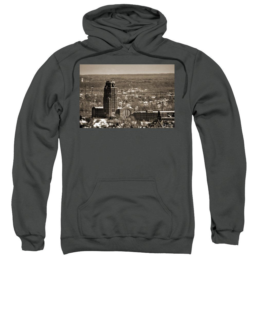 Winter Sweatshirt featuring the photograph Buffalo Central Terminal Winter 2013 by Michael Frank Jr